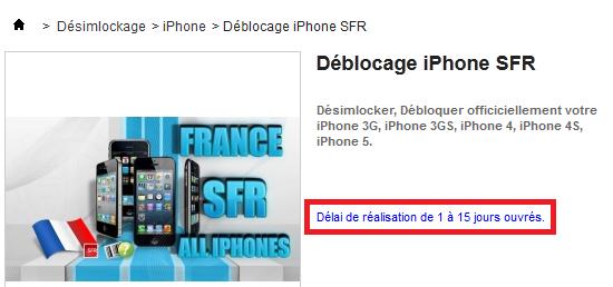 déblocage iphone SFR
