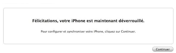 déblocage iphone 5 réussi